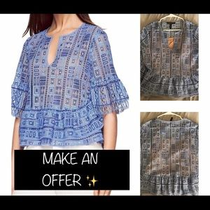 OPEN TO OFFERS // BCBG Blue Cutout Blouse